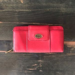 Fossil Red Leather Zipper Wallet